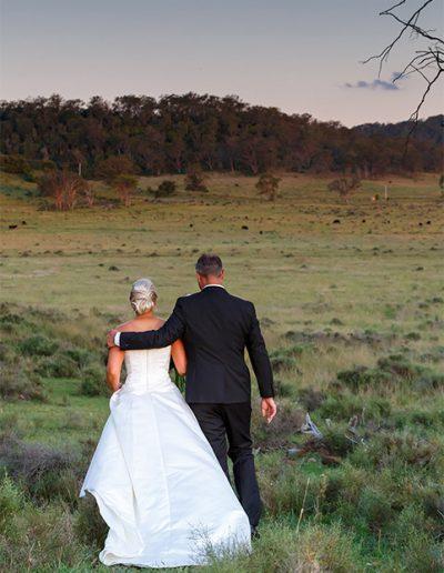 Country wedding in an open field