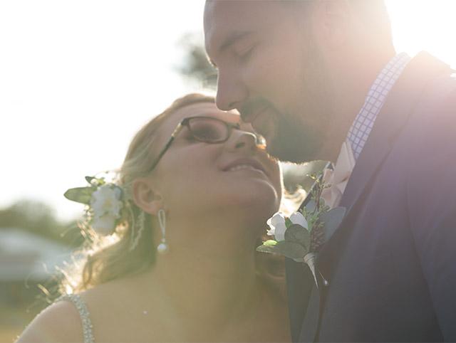 Sun flare bride and groom