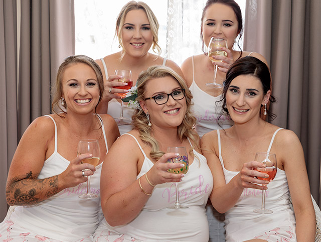 Brides girls and champagne